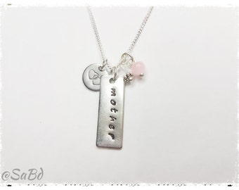 Personalized 'mother' charm necklace Handstamped jewellery