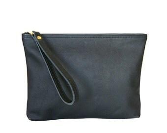 Leather Clutch, Black Clutch Handbag, Wristlet