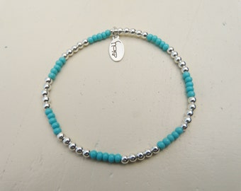 Turquoise and Sterling Silver Beaded Bracelet