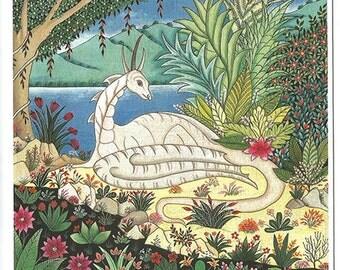 Dragon in he garden. Fine art card