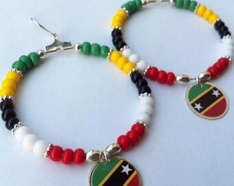 St Kitts and Nevis Flag Earrings