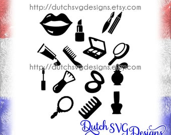 Beauty cutting files, in Jpg Png SVG EPS DXF for Cricut & Silhouette cameo curio portrait, lipstick eyeliner nailpolish perfume eyeshadow