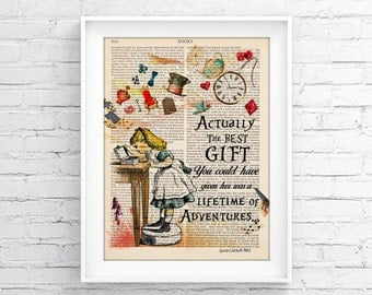 Decorative Art Book Page Upcycled Page Print Vintage Illustration Print - Alice In Wonderland Wall decor Retro Poster Vintage Book print 047