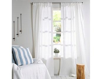 Linen Curtains-Linen Panels- White Linen Curtains- A pair Linen Window Panels-Rod pocket 4'' Width 57''x Custom length