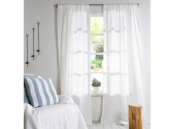 White Linen Curtains-Curtains-Two White Linen Drapes-Linen