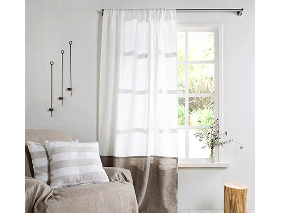 Linen Curtain-Linen Curtain In White Color With Natural