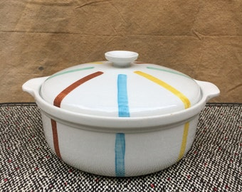 Casserole Covered Dish by De Sphinx Parafeu // Round Vintage Ceramic Lid Made in Holland Mid Century