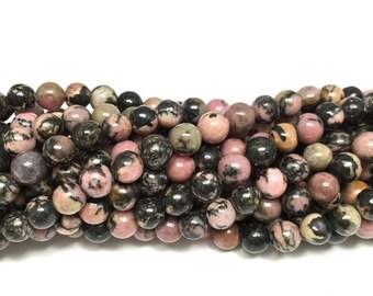 """6mm Natural Black Veined Rhodonite Full 16"""" Gemstone Strand ( 65 round beads)"""