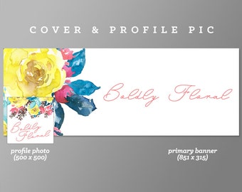 Timeline Cover + Profile Picture 'Boldly Floral' Cover, Profile Picture, Branding, Web Banner, Blog Header | yellow, floral cover image