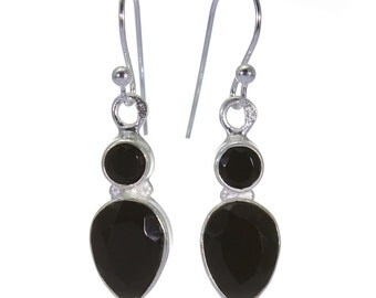 Black Onyx Earrings, 925 Sterling Silver, Unique only 1 piece available! color black, weight 2.9g, #40391