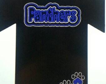 Panthers and Paw Mascot  Rhinestone Shirts