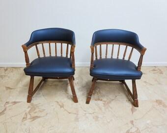 Pair vintage Romweber Viking Oak Arm Lounge chairs mid century