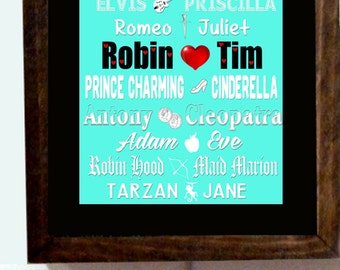 Personalized Names Wedding Anniversary Engagement Love Birds Gift Lighted Light Sign