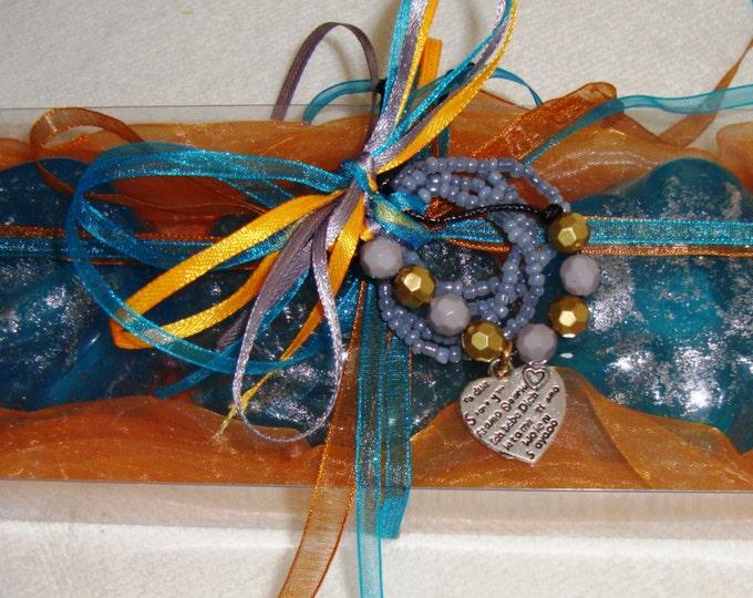 Orange Elegant Gift Set for Women, Aquamarine Luxury Fine Scented Soaps, Jewelry Boho Heart Bracelet, Party Gift, Birthday gift, Graduation