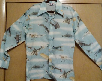 Clearance was 55 now 39. 70s Hipster/ Disco Airplane Shirt by Trafalgar