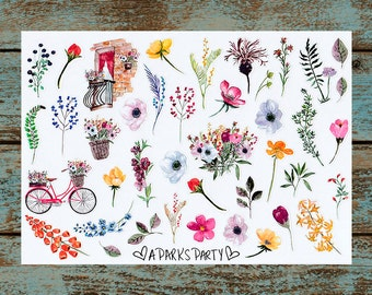 Vintage Watercolor Floral Stickers (Glossy) [012]