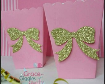 10 Pink and Gold Glitter Bow Snack/Favor Boxes, Baby Girl Popcorn Box, Babyshower Favors