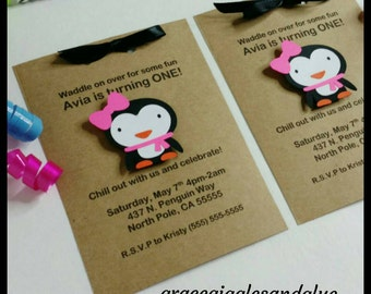 12 Personalized Penguin Invitations, Birthday Invitations, Baby Shower Invitations, Penguin Thank You Cards