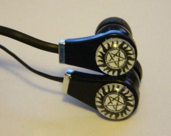 Supernatural Inspired Anti-Possession Symbol Pentagram Custom Ear Buds