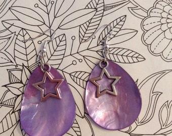 Star Earrings - Purple Earrings - Water Drop Earrings - Sequin Earrings - Fairy Earrings - Twilight Earrings