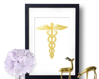 Caduceus Print, Medical Student Graduation Gift, Gold foil, Wall Art, Doctors Office Decor, Nurse Physician Assistant, Medical Poster