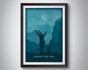 Dark Souls 3 Video Game Poster: Praise the sun & the moon over Irithyll