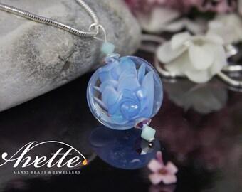 Artic Flower. Artisan handmade Lampwork glass bead pendant. Ready to wear. Jewellery jewelry 925 Sterling Silver Avetteglass Avette