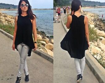 Asymmetric Tunic / Womens Tunics / Extravagant Тunic /  Comfortable Tunic / Black Tunic / Summer Tunic / Womens Blouses