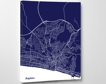 Brighton Street Map Print Map of Brighton City Street Map England Poster Wall Art 7115P