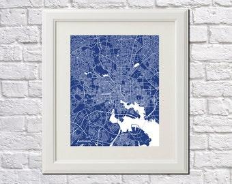 Baltimore Street Map Print Map of Baltimore Maryland City Street Map Poster Wall Art 7072P