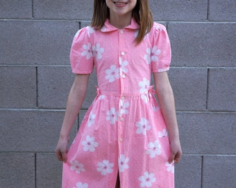 Vintage Pink Shirt Dress / Girls size 7 - 8 / Pink with White Floral Dress / Girls Pink Dress / Vintage Girls dress / Pink and White Dress