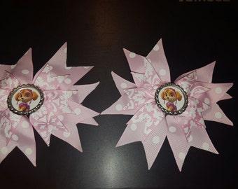 Pink and white Paw Patrol Bows Set