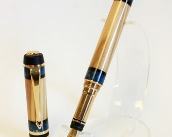 Handmade Wood Fountain Pen, Olivewood with African Blackwood and Blue Box Elder Burl