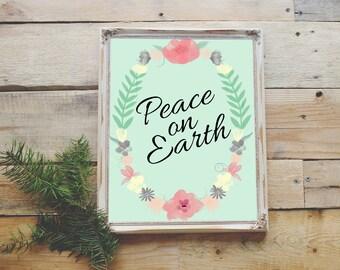 Floral Wreath Peace on Earth Print 8x10 Wall Art