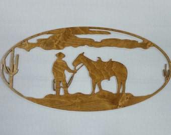 Cowboy and his Horse in Desert Stained(Birch Wood)