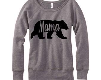 Mama Bear, Wideneck Fleece Sweatshirt, Metallic Gold, Silver, Glitter And Neon Print,