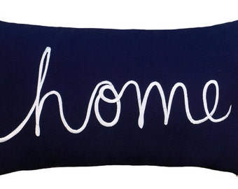 "Free Shipping-Home Sentiment Pillow Cover Embroidered Pillow Throw Pillow Decorative Pillow Wedding Birthday Anniversary Gift 14""x24"" (Navy)"