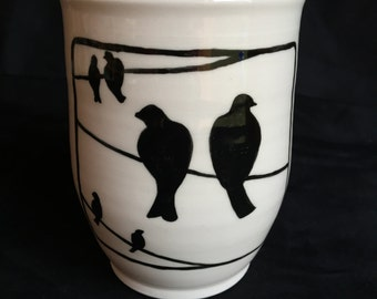 Birds on a Wire Handpainted porcelain mug