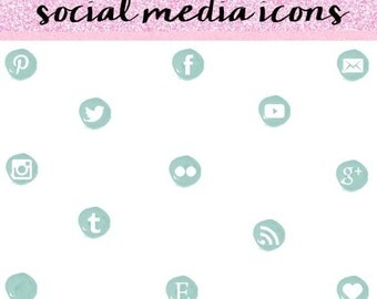 Teal Social Media Icons, Social Media Icons, Social Media Icons Set, Modern Social Media Icons.