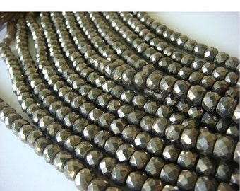 50% ON SALE Pyrite - Pyrite Faceted Rondelles - 8 Inch Strand - 7.5mm Approx