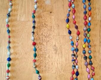 paper bead necklace - multi