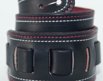 Handmade custom adjustable leather guitar strap.