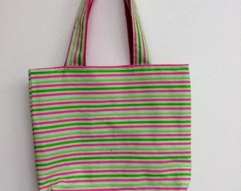 pink & green striped tote bag