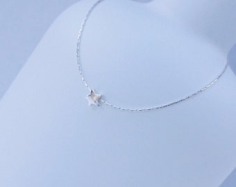 Sterling Silver Tiny Star Necklace – Silver Star – Delicate chain - Everyday Wear - Long & Layered – Gift - Bridal - Choker