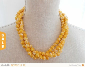 Sale -  Yellow pearl necklace, triple strand, yellow wedding, yellow bridesmaid, summer wedding, bridesmaid gift