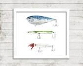 Saltwater Lure Watercolor Print. Fishing Watercolor. Fisherman Art. Ocean Art. Coastal Decor. Nautical Print.