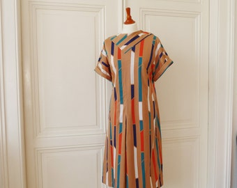 Dress with big stripes, vintage Jersey dress, summer dress