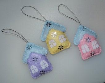 Christmas decorations Houses - Set of 3 felt pendants – Christmas decor - Christmas decorations