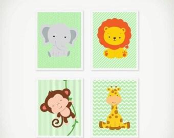 ON SALE Jungle Nursery Art Printable Set Instant Download Monkey Print, Elephant Print, Giraffe Lion, Neutral Nursery Decor Jungle Animals