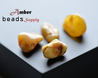 Yellow stones without holes, Baltic amber stones, Natural amber color stones for jewelry, Genuine amber beads, #4 Pieces - 4277